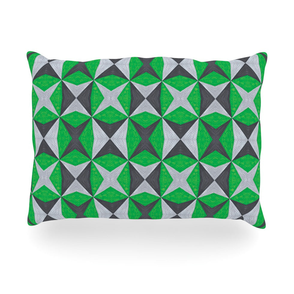 "Empire Ruhl ""Silver and Green Abstract"" Green Black Oblong Pillow - KESS InHouse"