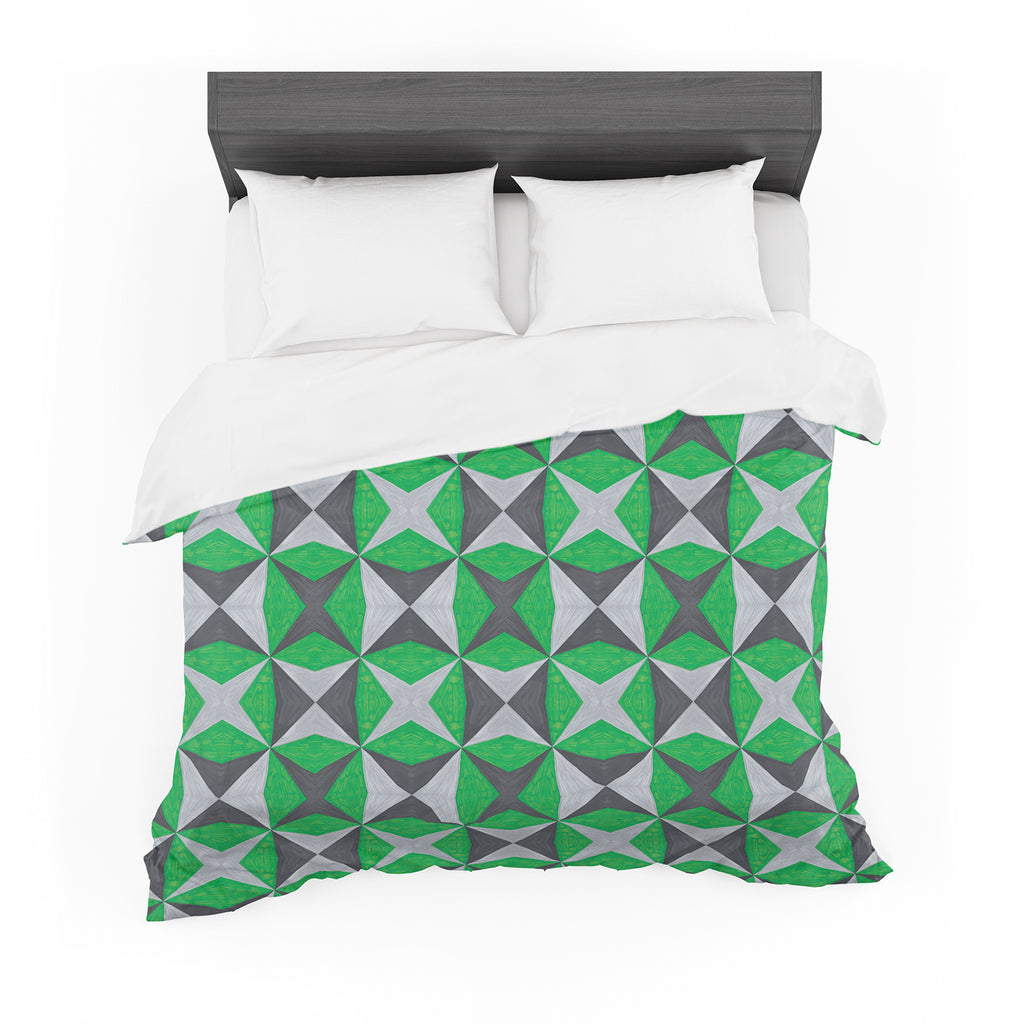"Empire Ruhl ""Silver and Green Abstract"" Green Black Featherweight Duvet Cover"