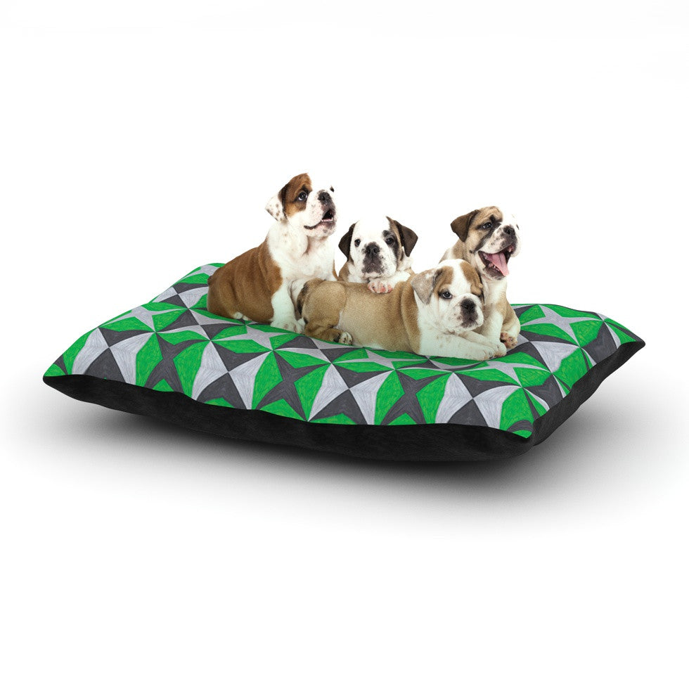 "Empire Ruhl ""Silver and Green Abstract"" Green Black Dog Bed - KESS InHouse  - 1"