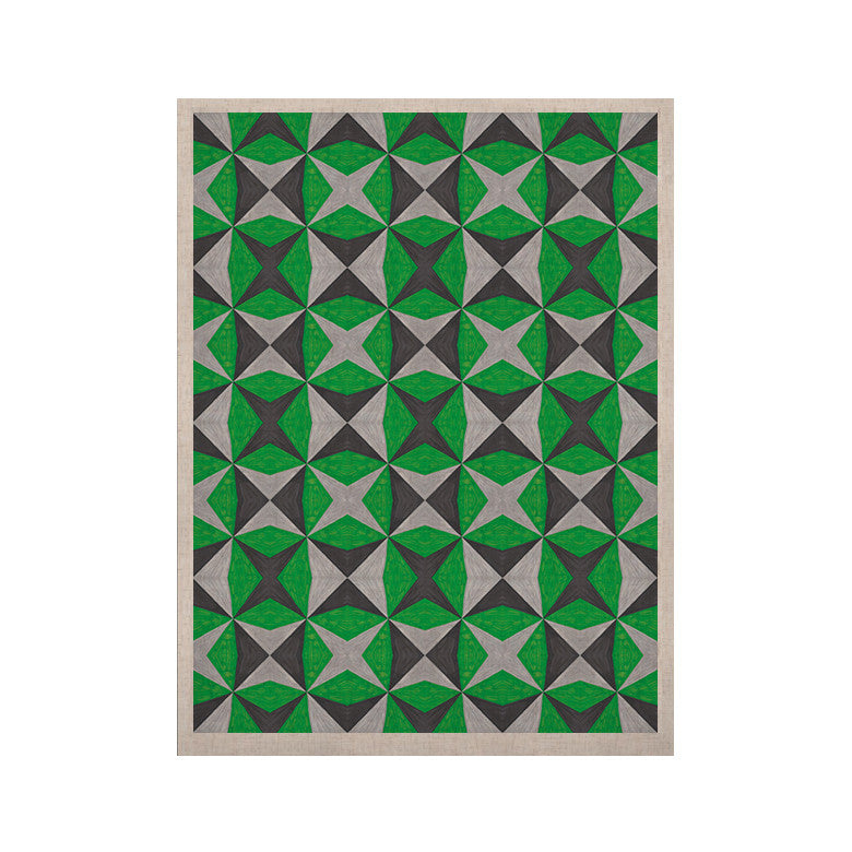"Empire Ruhl ""Silver and Green Abstract"" Green Black KESS Naturals Canvas (Frame not Included) - KESS InHouse  - 1"