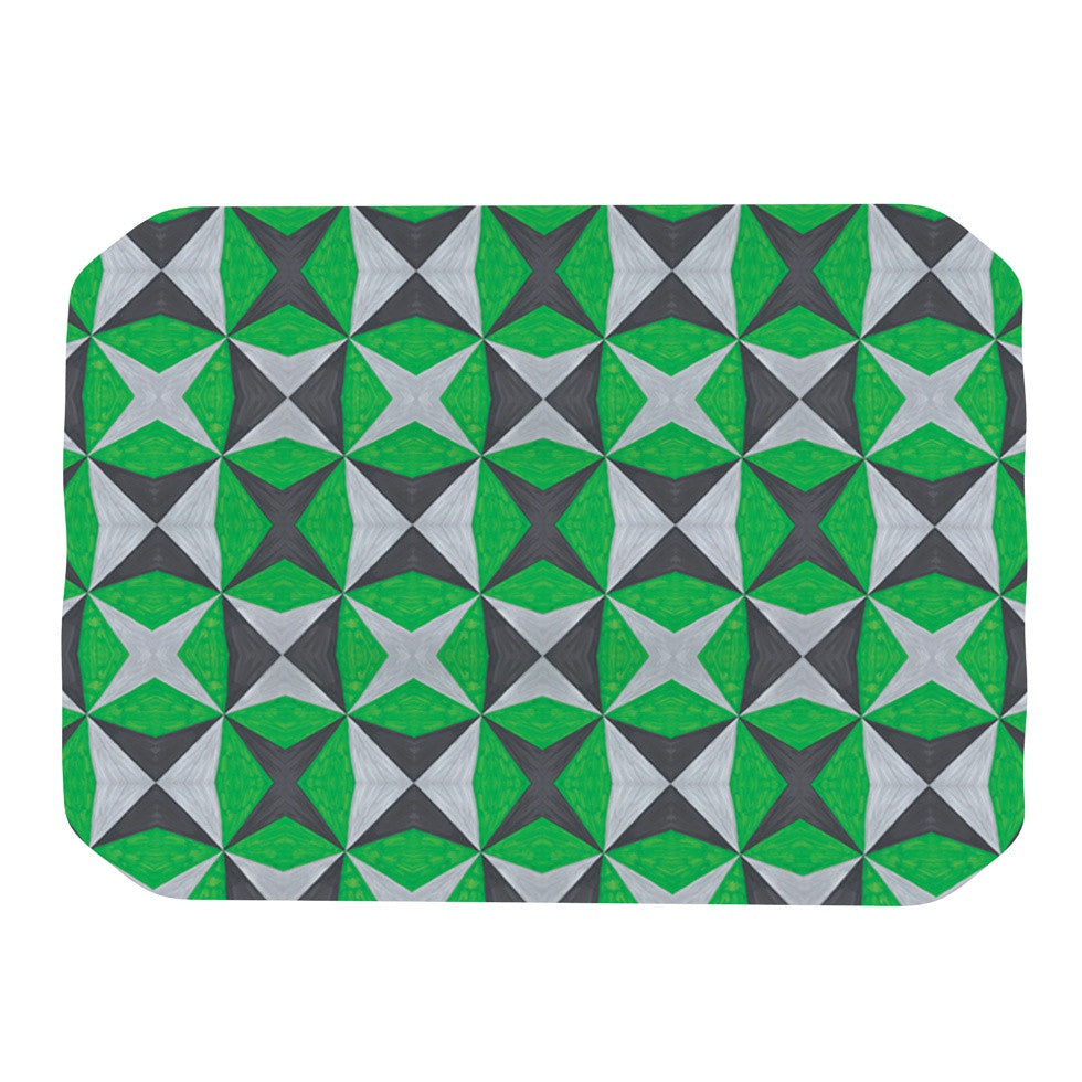 "Empire Ruhl ""Silver and Green Abstract"" Green Black Place Mat - KESS InHouse"