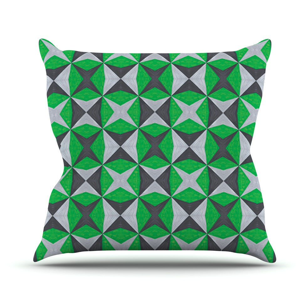 "Empire Ruhl ""Silver and Green Abstract"" Green Black Throw Pillow - KESS InHouse  - 1"