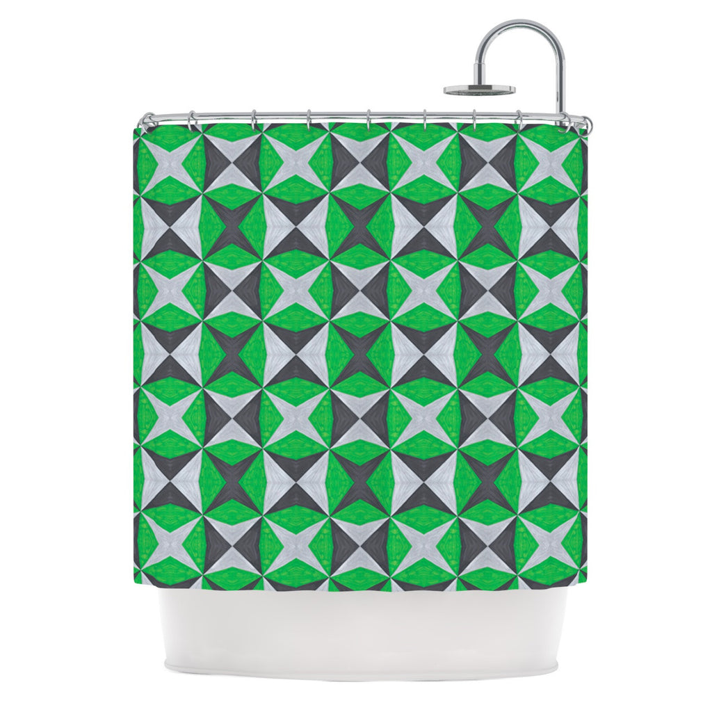 "Empire Ruhl ""Silver and Green Abstract"" Green Black Shower Curtain - KESS InHouse"