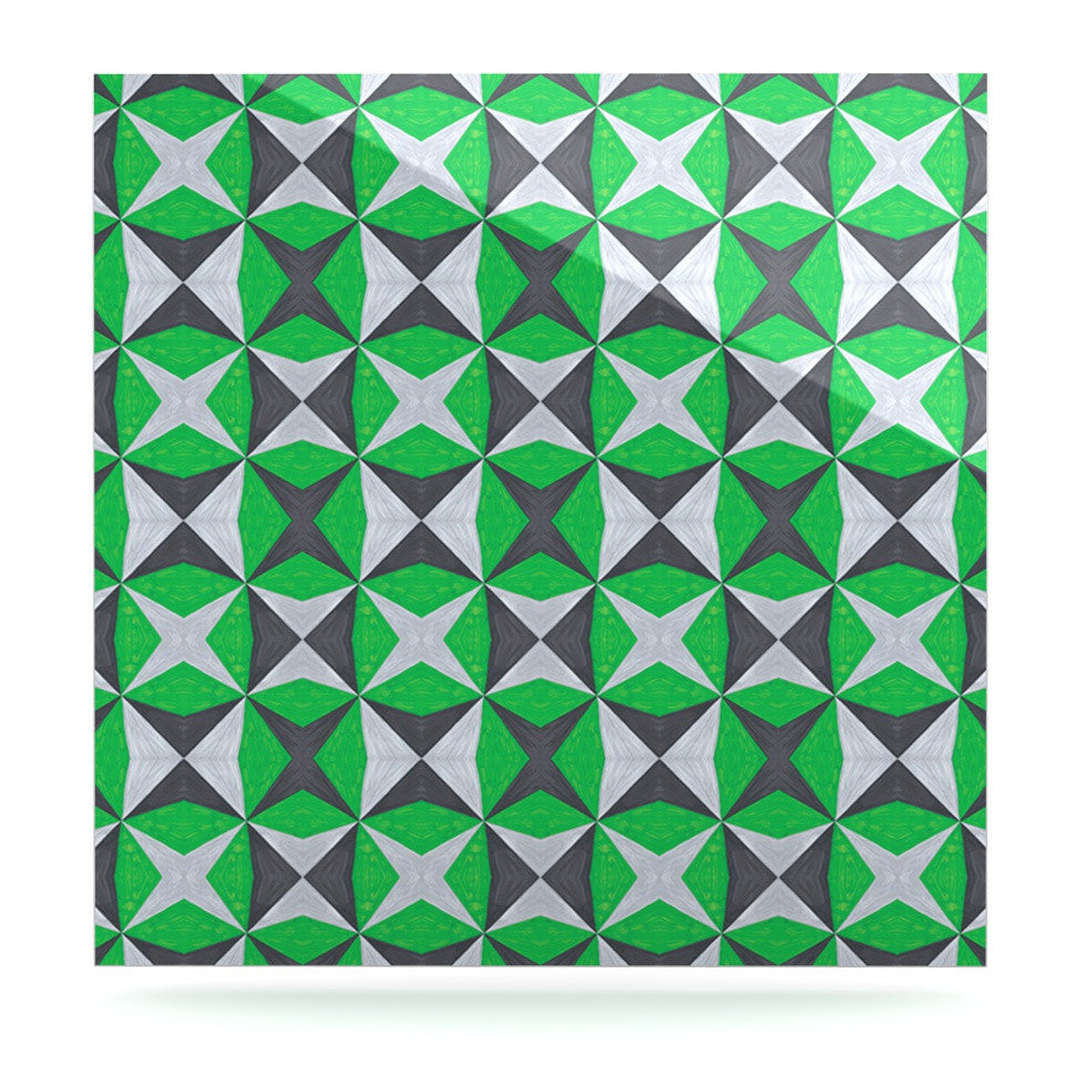 "Empire Ruhl ""Silver and Green Abstract"" Green Black Luxe Square Panel - KESS InHouse  - 1"