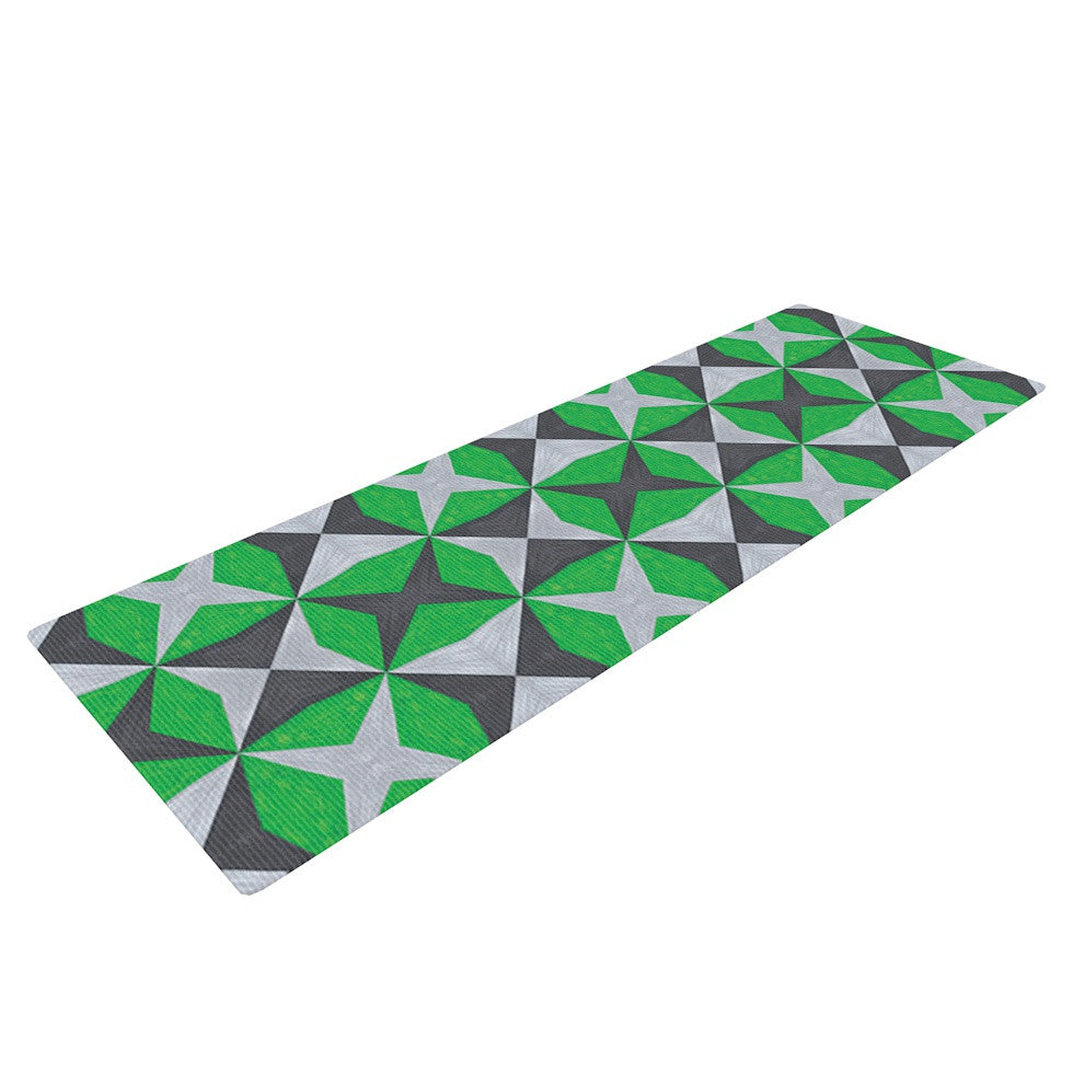 "Empire Ruhl ""Silver and Green Abstract"" Green Black Yoga Mat - KESS InHouse  - 1"