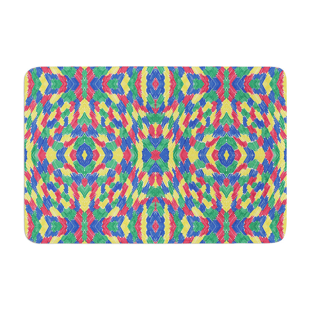 "Empire Ruhl ""Energy Abstract"" Multicolor Pattern Memory Foam Bath Mat - KESS InHouse"