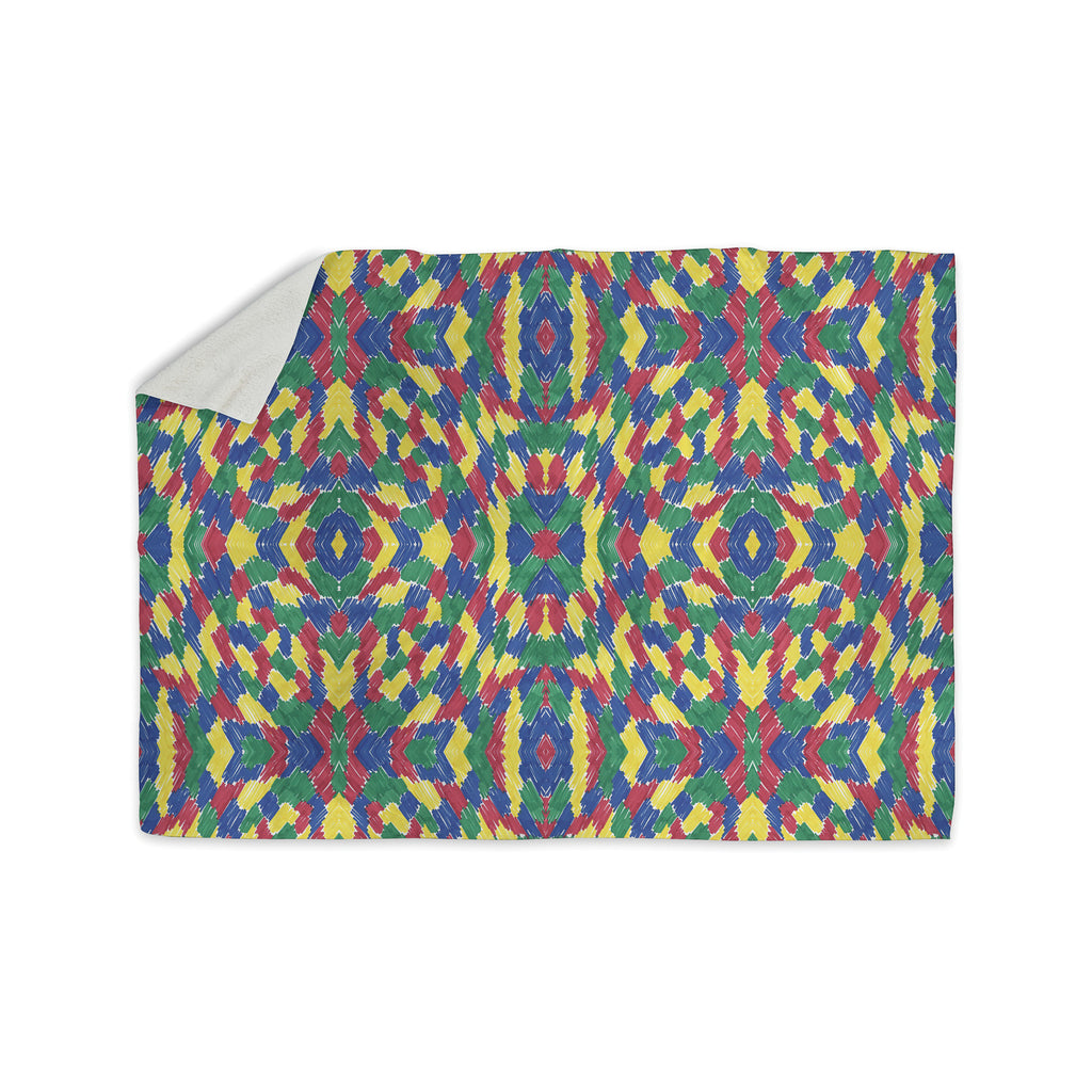 "Empire Ruhl ""Energy Abstract"" Multicolor Pattern Sherpa Blanket - KESS InHouse  - 1"
