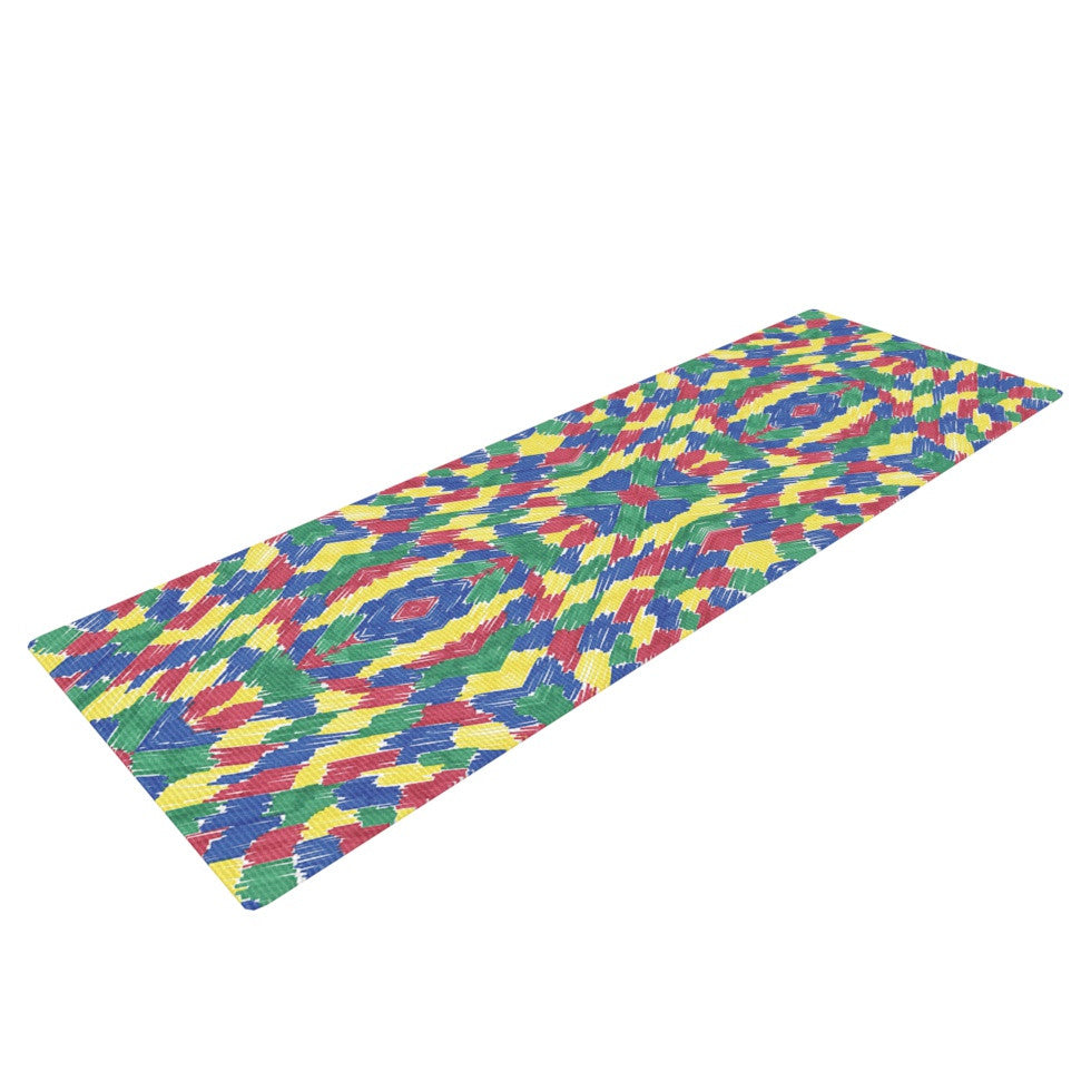 "Empire Ruhl ""Energy Abstract"" Multicolor Pattern Yoga Mat - KESS InHouse  - 1"