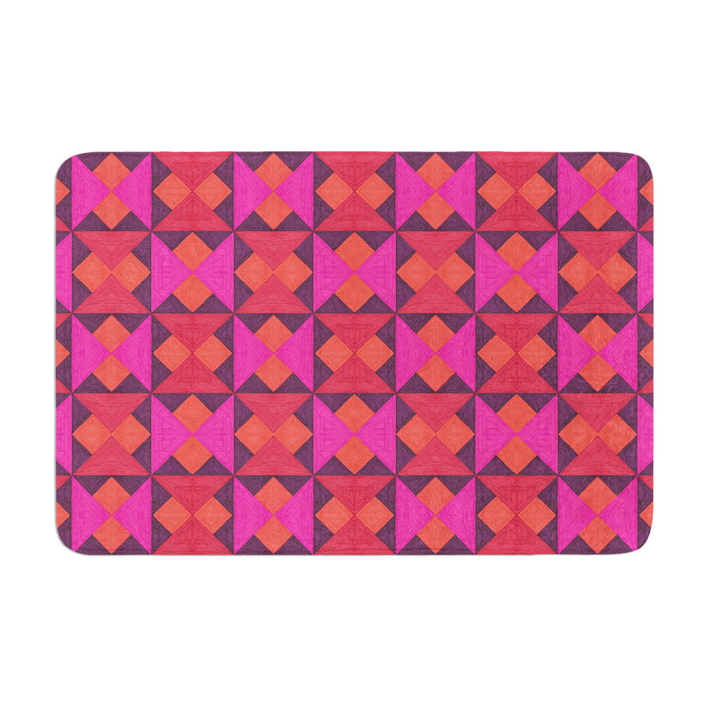 "Empire Ruhl ""A Quilt Pattern"" Pink Red Memory Foam Bath Mat - KESS InHouse"