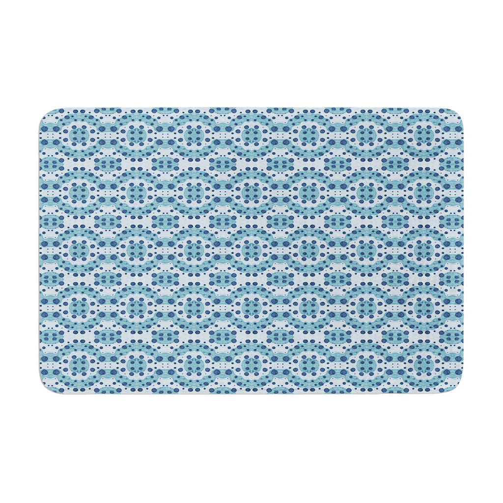 "Empire Ruhl ""Blue Circle Abstract"" Navy Geometric Memory Foam Bath Mat - KESS InHouse"