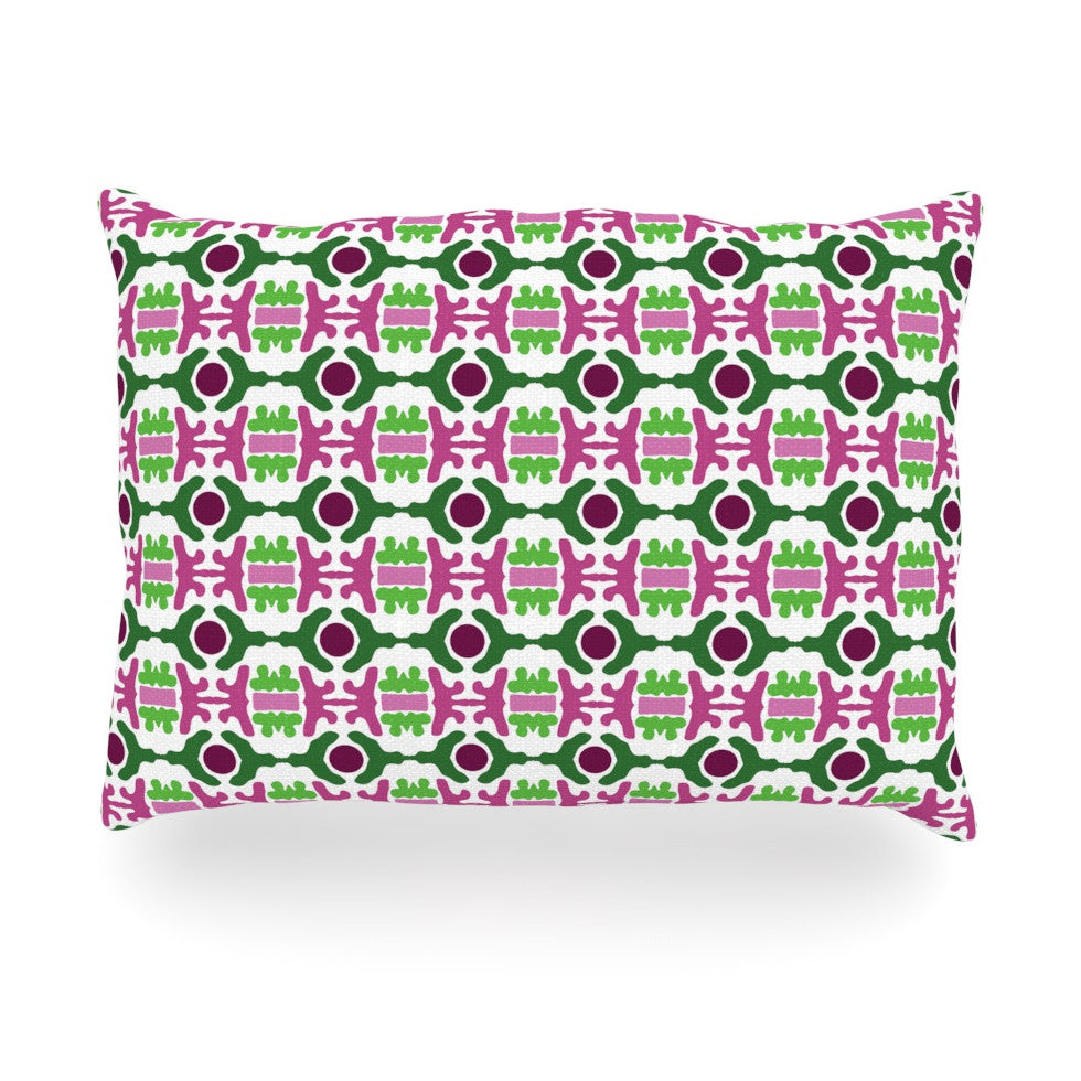"Empire Ruhl ""Island Dreaming Abstract"" Pink Green Oblong Pillow - KESS InHouse"