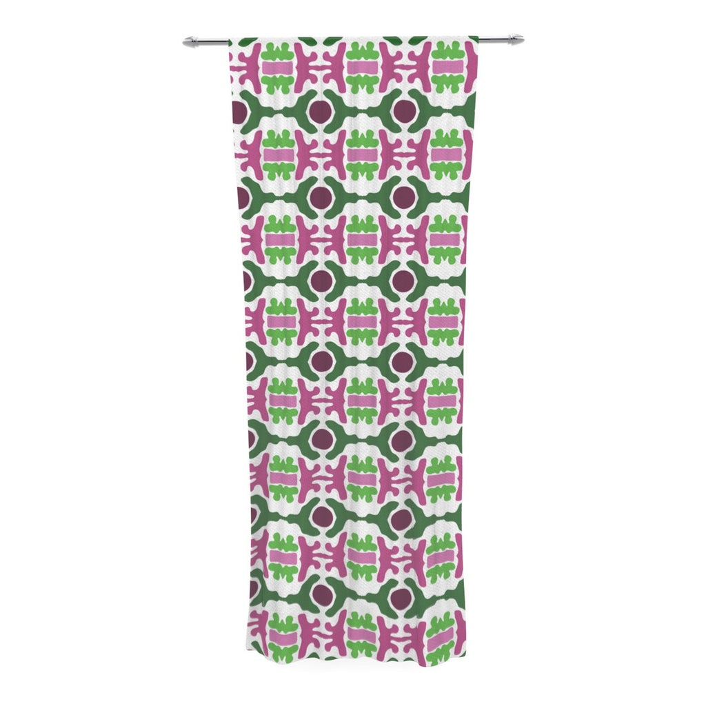 "Empire Ruhl ""Island Dreaming Abstract"" Pink Green Decorative Sheer Curtain - KESS InHouse  - 1"
