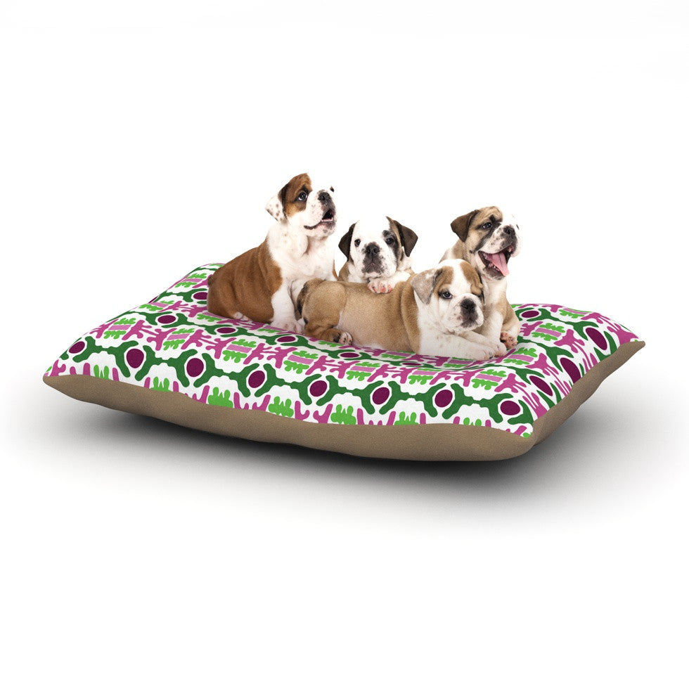 "Empire Ruhl ""Island Dreaming Abstract"" Pink Green Dog Bed - KESS InHouse  - 1"