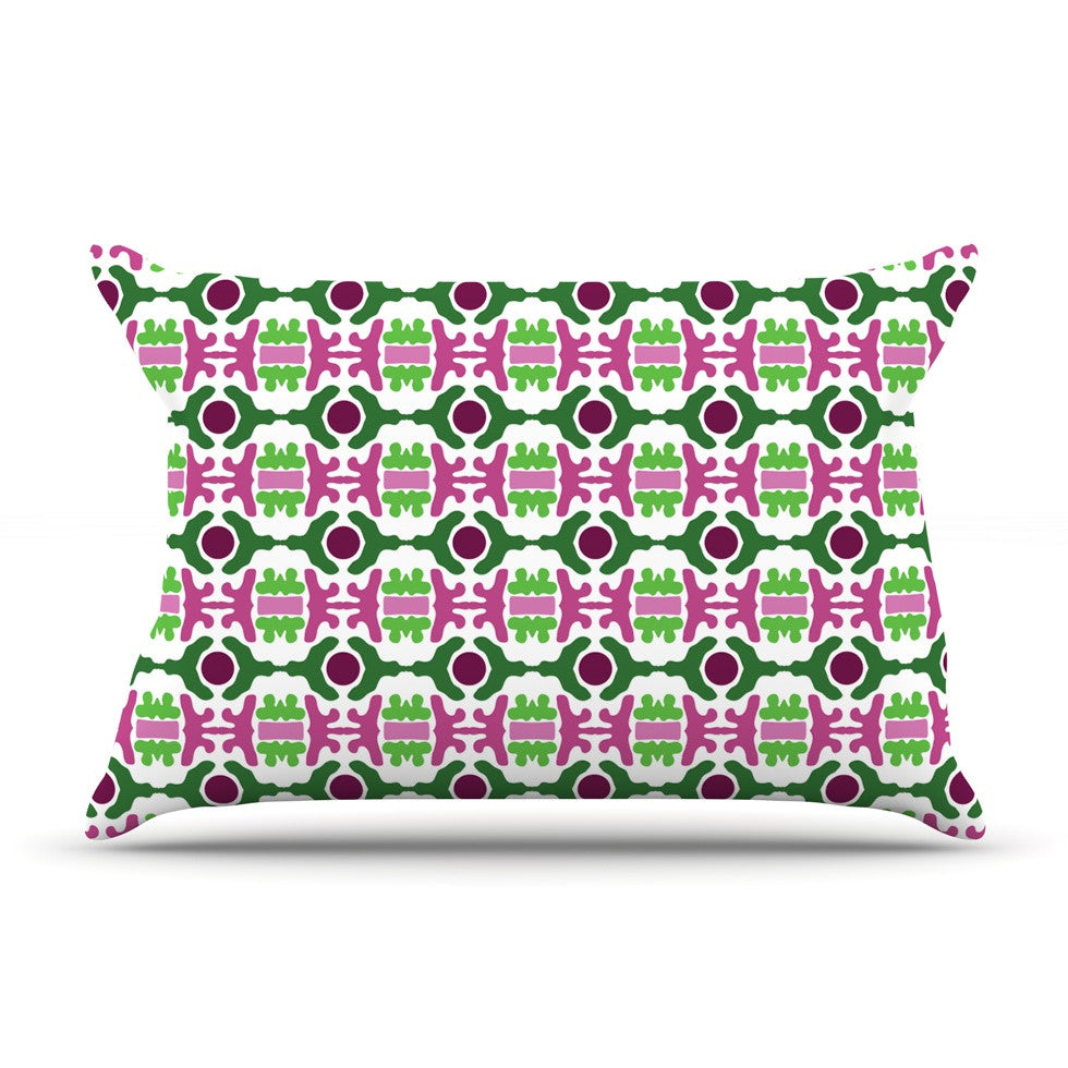 "Empire Ruhl ""Island Dreaming Abstract"" Pink Green Pillow Sham - KESS InHouse"