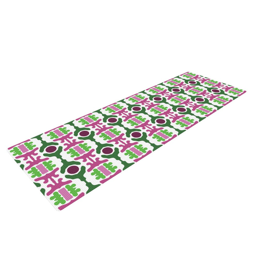 "Empire Ruhl ""Island Dreaming Abstract"" Pink Green Yoga Mat - KESS InHouse  - 1"