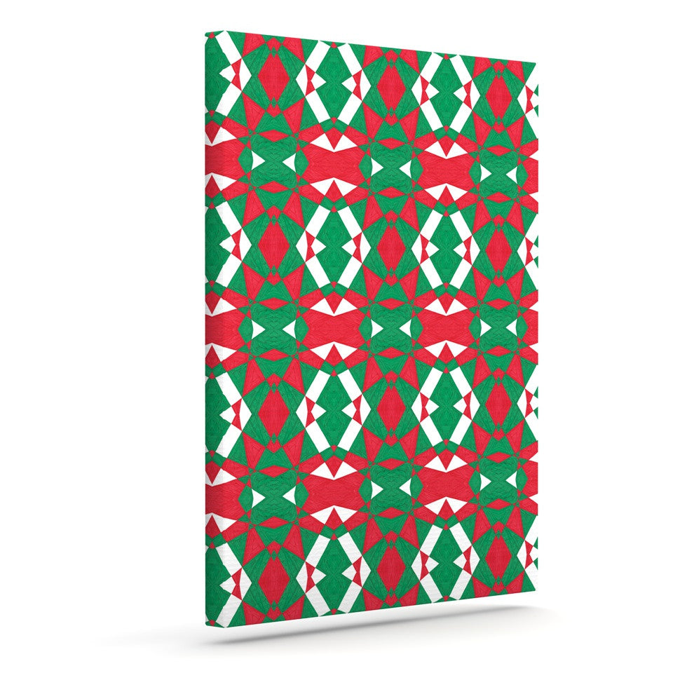 "Empire Ruhl ""Christmas Geo"" Red Green Canvas Art - KESS InHouse  - 1"