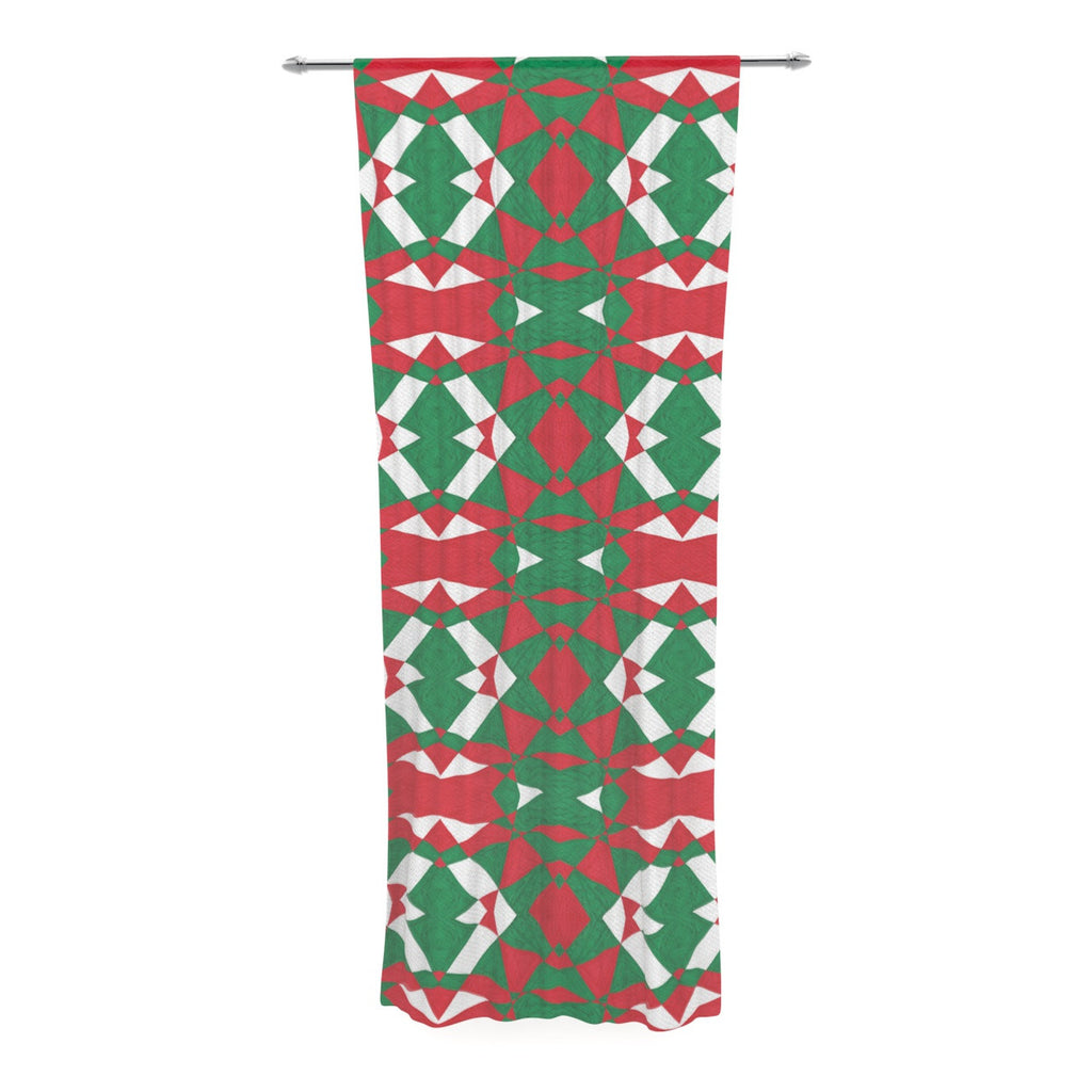 "Empire Ruhl ""Christmas Geo"" Red Green Decorative Sheer Curtain - KESS InHouse  - 1"