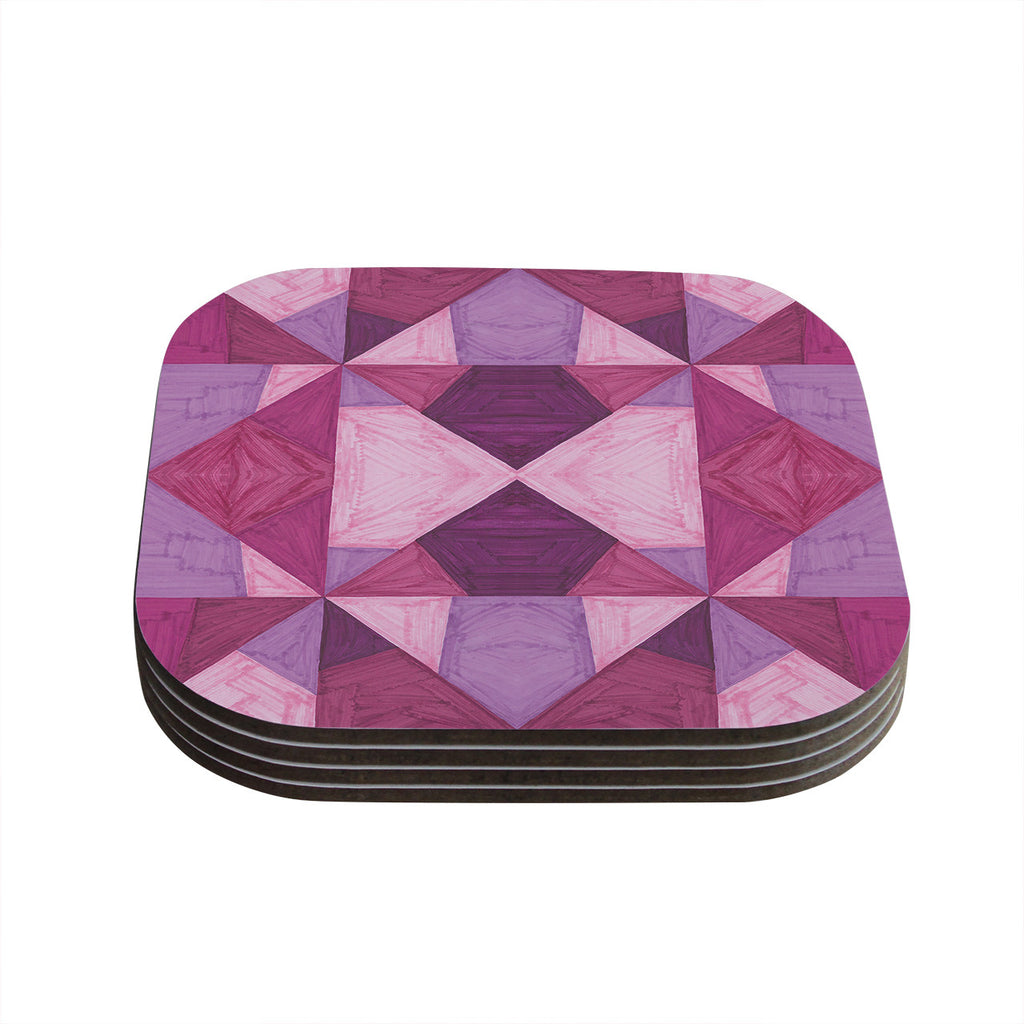 "Empire Ruhl ""Purple Angles"" Pink Geometric Coasters (Set of 4)"