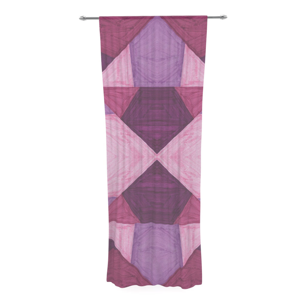 "Empire Ruhl ""Purple Angles"" Pink Geometric Decorative Sheer Curtain - KESS InHouse  - 1"