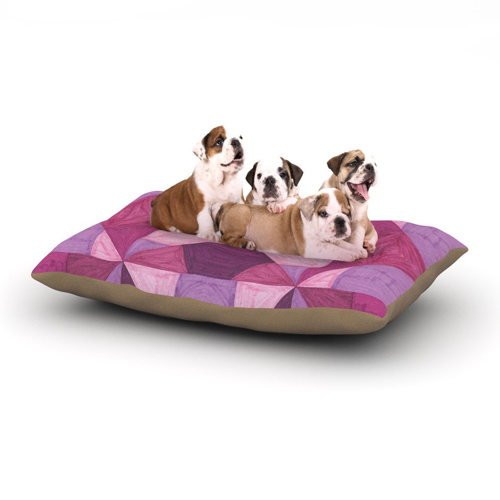 "Empire Ruhl ""Purple Angles"" Pink Geometric Dog Bed - KESS InHouse  - 1"
