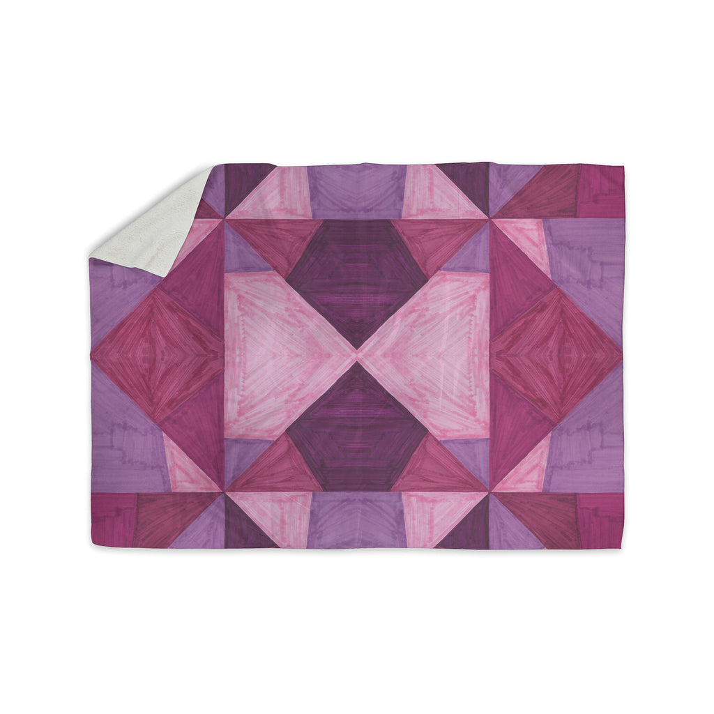 "Empire Ruhl ""Purple Angles"" Pink Geometric Sherpa Blanket - KESS InHouse  - 1"