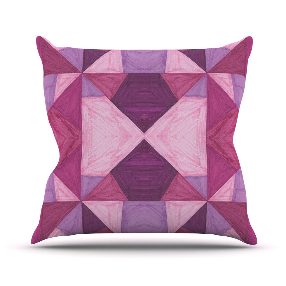 "Empire Ruhl ""Purple Angles"" Pink Geometric Outdoor Throw Pillow - KESS InHouse  - 1"