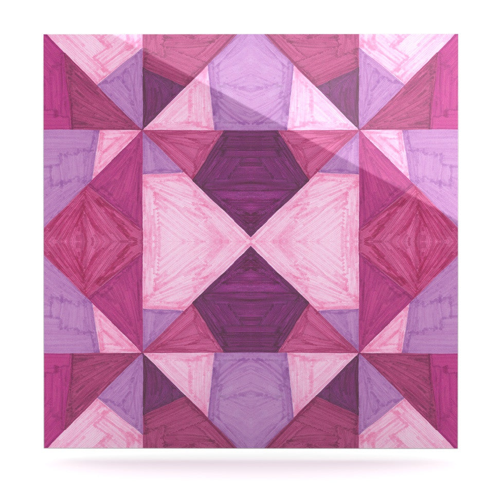 "Empire Ruhl ""Purple Angles"" Pink Geometric Luxe Square Panel - KESS InHouse  - 1"