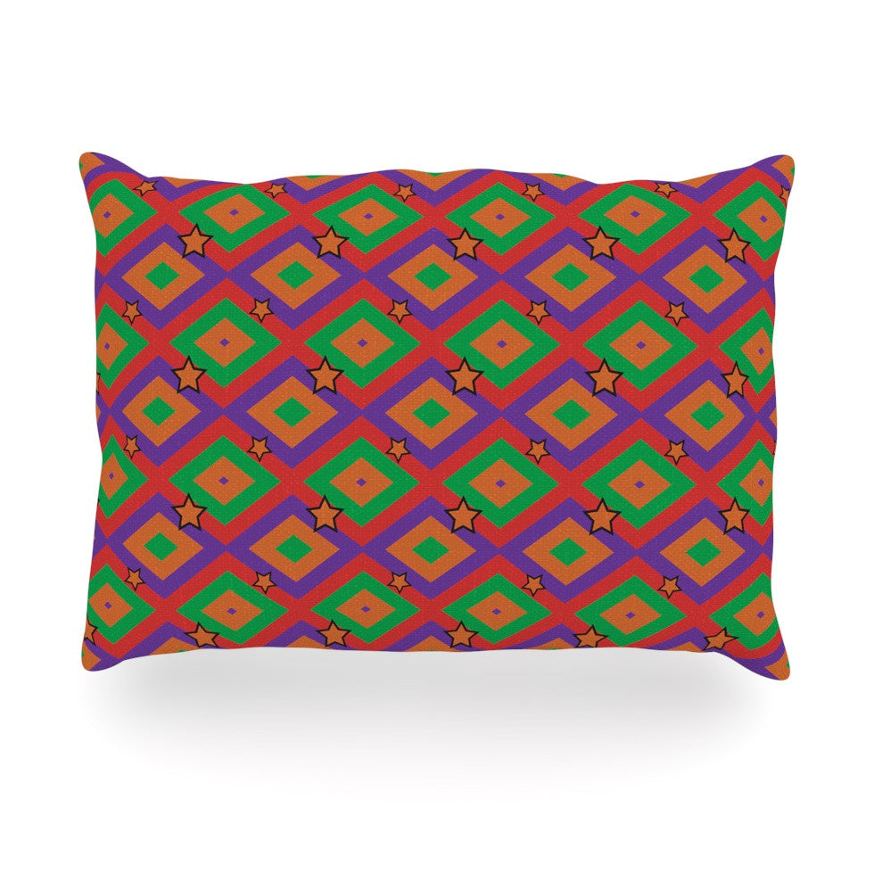 "Empire Ruhl ""Orange Super Stars"" Multicolor Geometric Oblong Pillow - KESS InHouse"