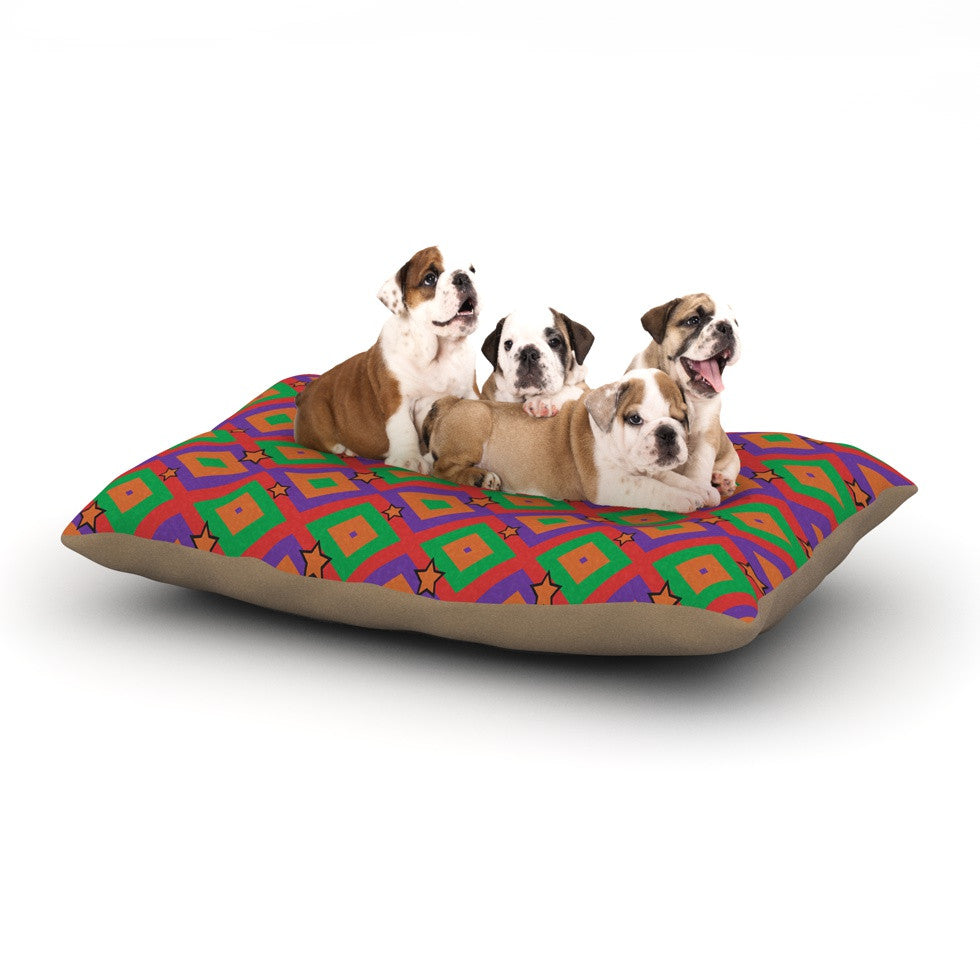 "Empire Ruhl ""Orange Super Stars"" Multicolor Geometric Dog Bed - KESS InHouse  - 1"