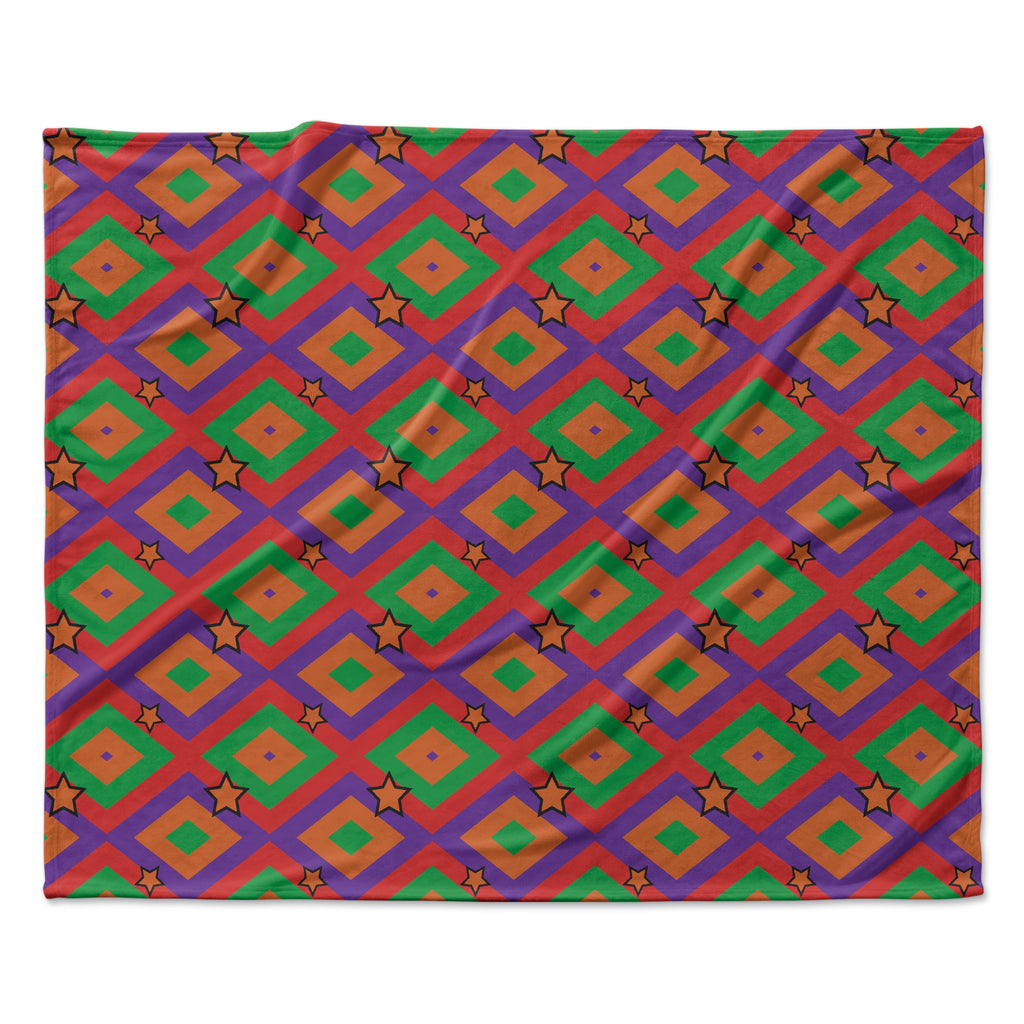 "Empire Ruhl ""Orange Super Stars"" Multicolor Geometric Fleece Throw Blanket"