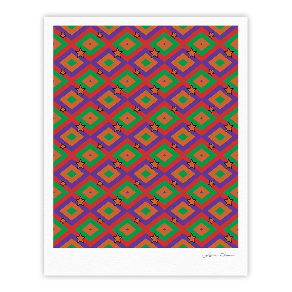 "Empire Ruhl ""Orange Super Stars"" Multicolor Geometric Fine Art Gallery Print - KESS InHouse"