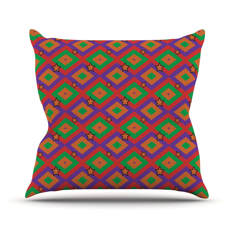"Empire Ruhl ""Orange Super Stars"" Multicolor Geometric Outdoor Throw Pillow - KESS InHouse  - 1"