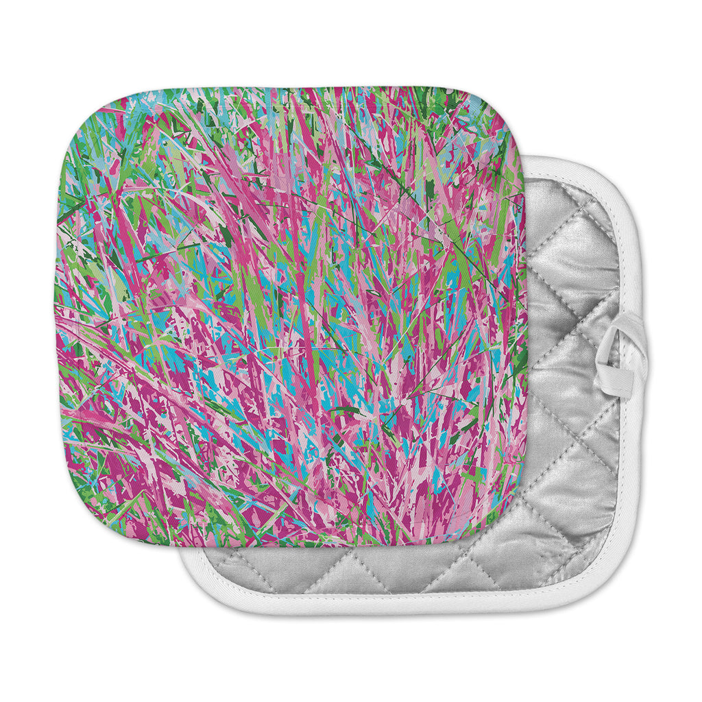 "Empire Ruhl ""Spring Grass Abstract"" Pink Teal Pot Holder"