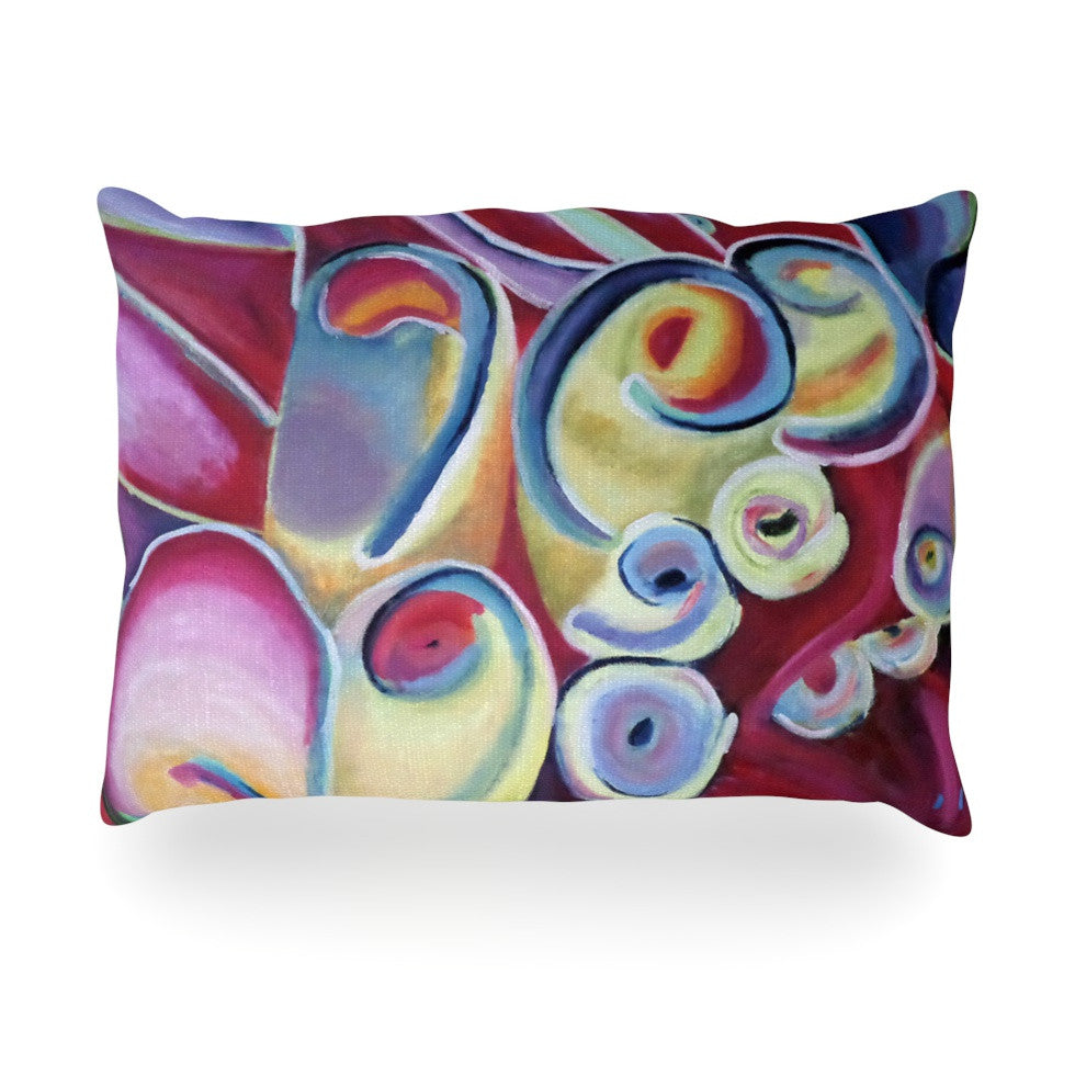"Cathy Rodgers ""Groovy"" Rainbow Flowers Oblong Pillow - KESS InHouse"