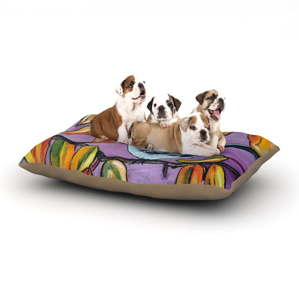 "Cathy Rodgers ""Mockingbird"" Purple Orange Dog Bed - KESS InHouse  - 1"
