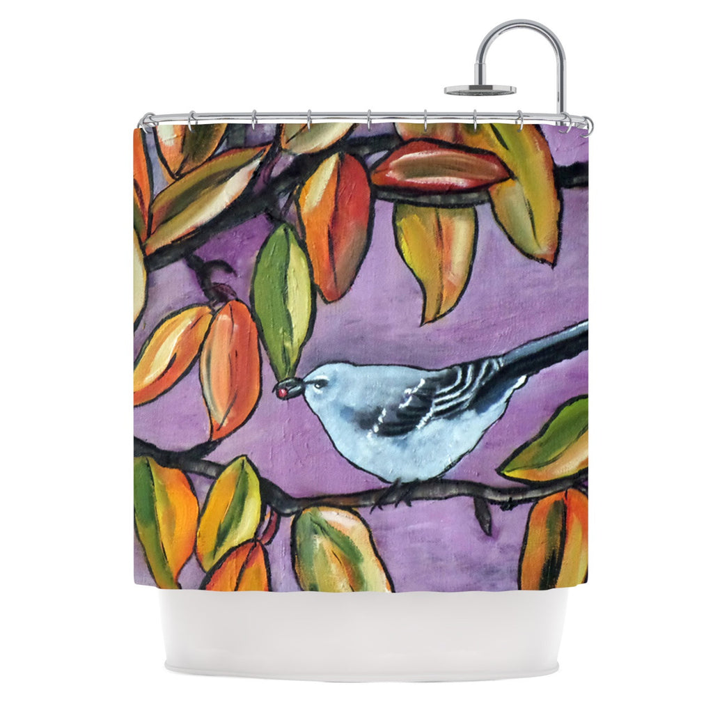"Cathy Rodgers ""Mockingbird"" Purple Orange Shower Curtain - KESS InHouse"