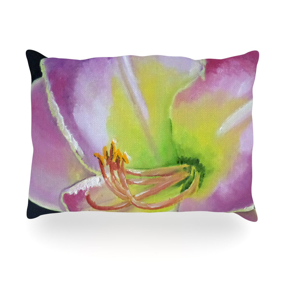 "Cathy Rodgers ""Violet and Lemon"" Purple Green Oblong Pillow - KESS InHouse"