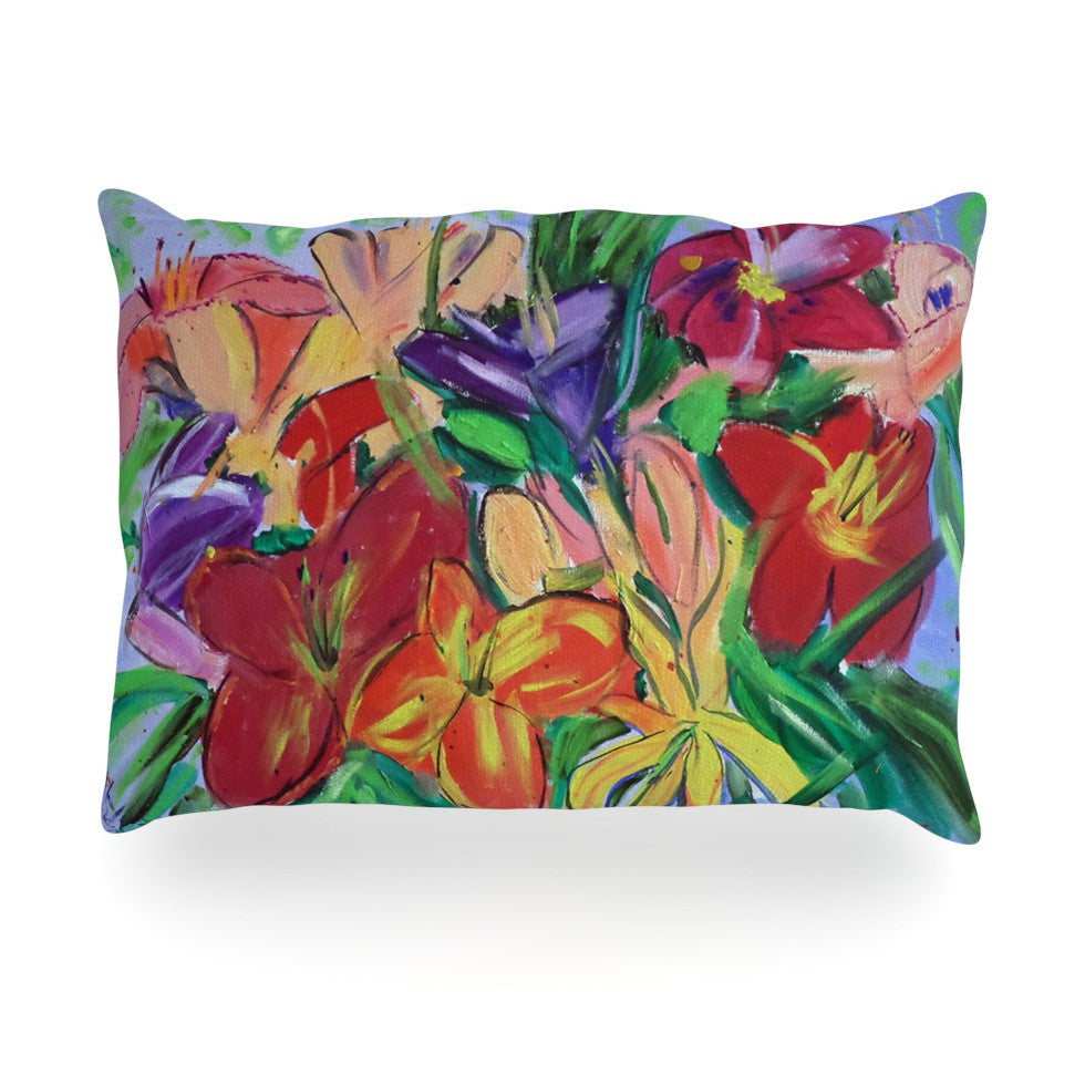 "Cathy Rodgers ""Matisse Styled Lillies"" Rainbow Flower Oblong Pillow - KESS InHouse"