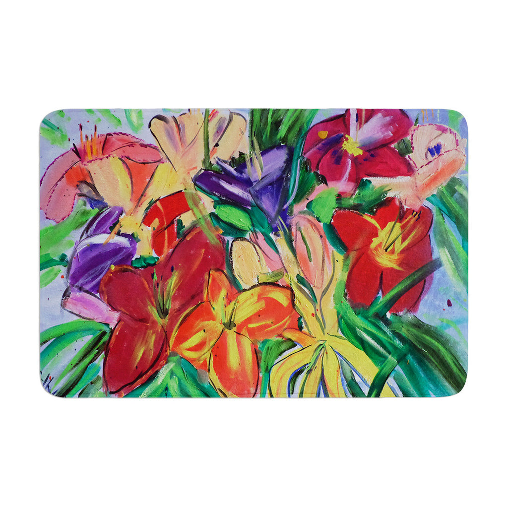 "Cathy Rodgers ""Matisse Styled Lillies"" Rainbow Flower Memory Foam Bath Mat - KESS InHouse"
