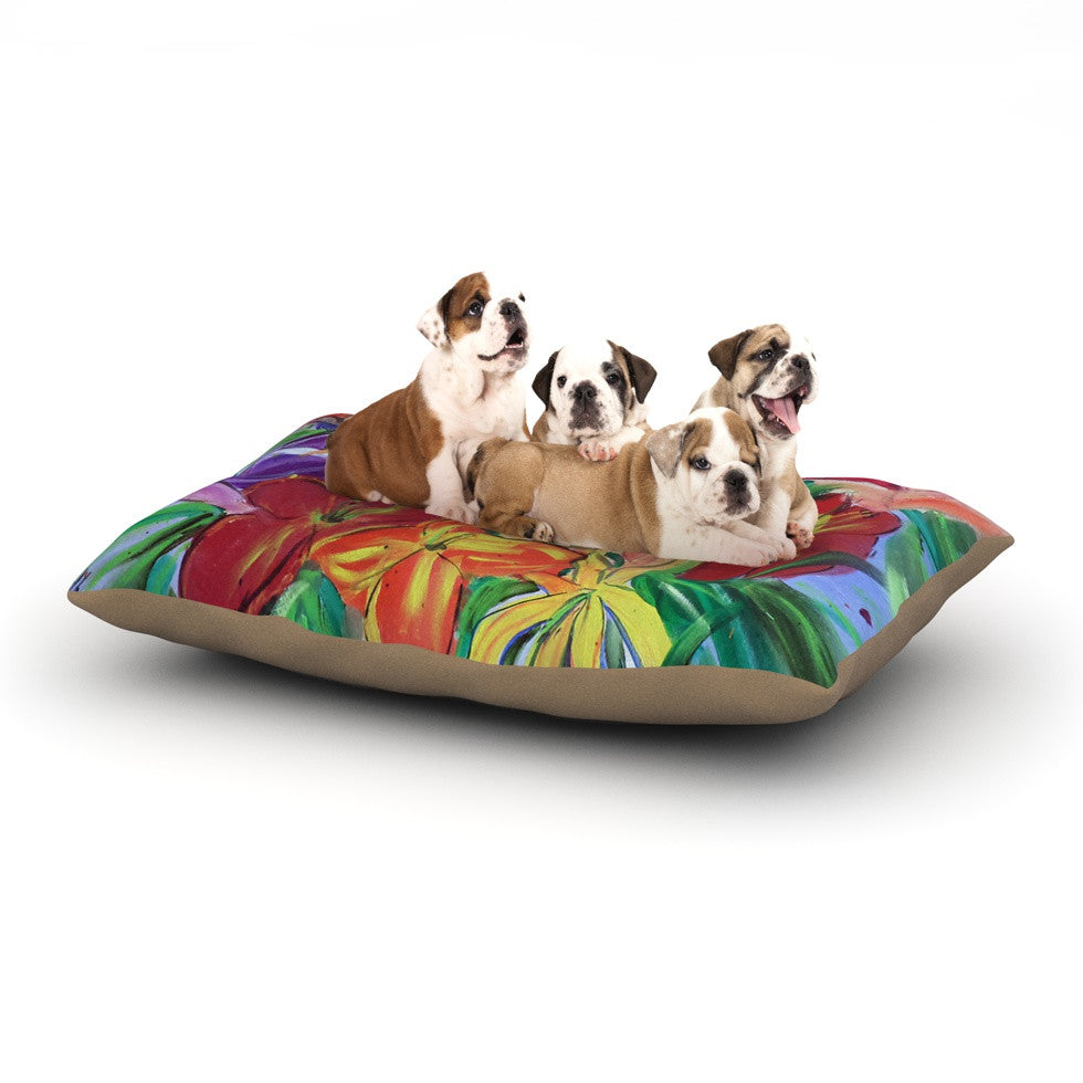 "Cathy Rodgers ""Matisse Styled Lillies"" Rainbow Flower Dog Bed - KESS InHouse  - 1"