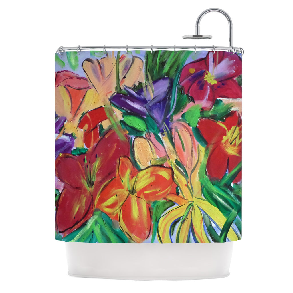 "Cathy Rodgers ""Matisse Styled Lillies"" Rainbow Flower Shower Curtain - KESS InHouse"