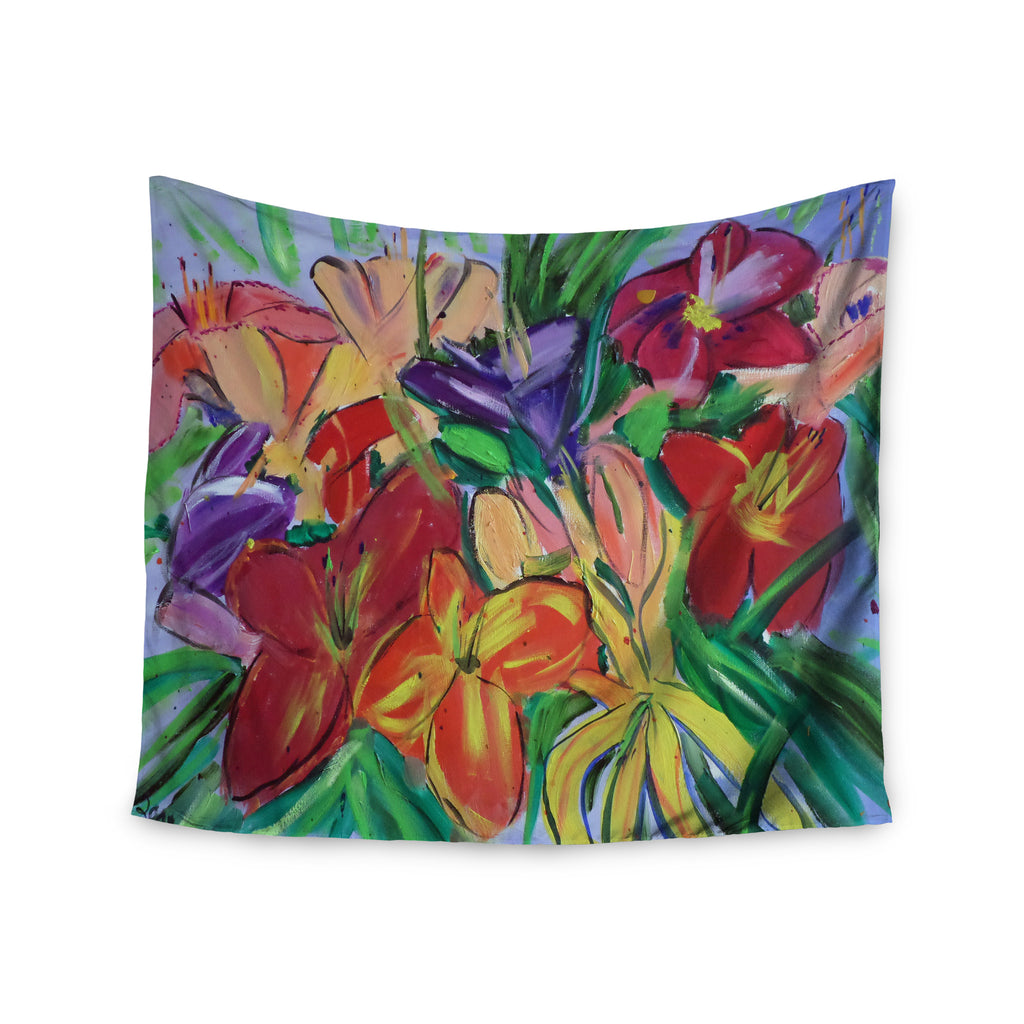 "Cathy Rodgers ""Matisse Styled Lillies"" Rainbow Flower Wall Tapestry - KESS InHouse  - 1"