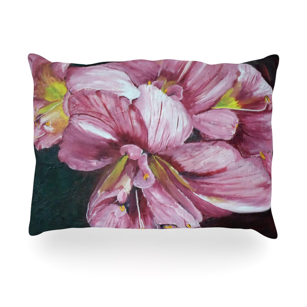 "Cathy Rodgers ""Pink Day Lily Blooms"" Pink Flower Oblong Pillow - KESS InHouse"