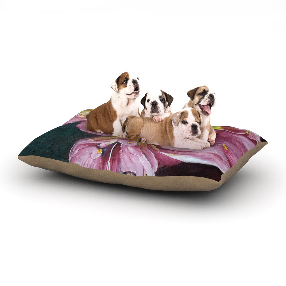 "Cathy Rodgers ""Pink Day Lily Blooms"" Pink Flower Dog Bed - KESS InHouse  - 1"