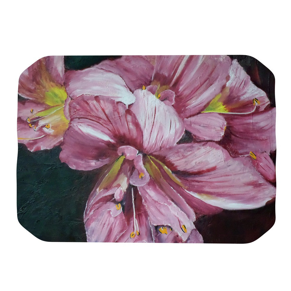 "Cathy Rodgers ""Pink Day Lily Blooms"" Pink Flower Place Mat - KESS InHouse"