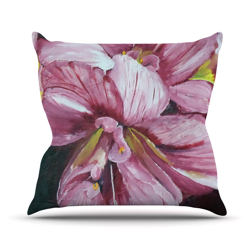 "Cathy Rodgers ""Pink Day Lily Blooms"" Pink Flower Outdoor Throw Pillow - KESS InHouse  - 1"