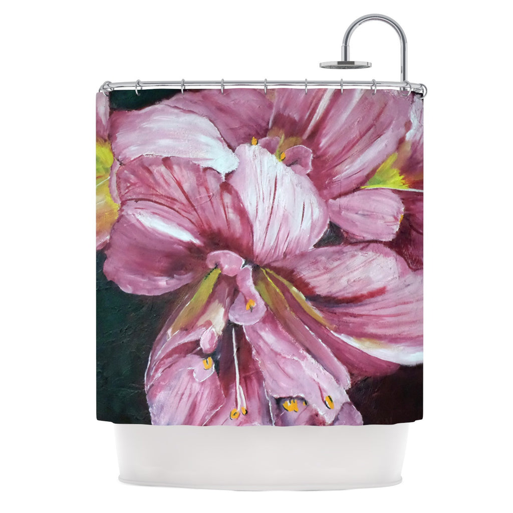 "Cathy Rodgers ""Pink Day Lily Blooms"" Pink Flower Shower Curtain - KESS InHouse"