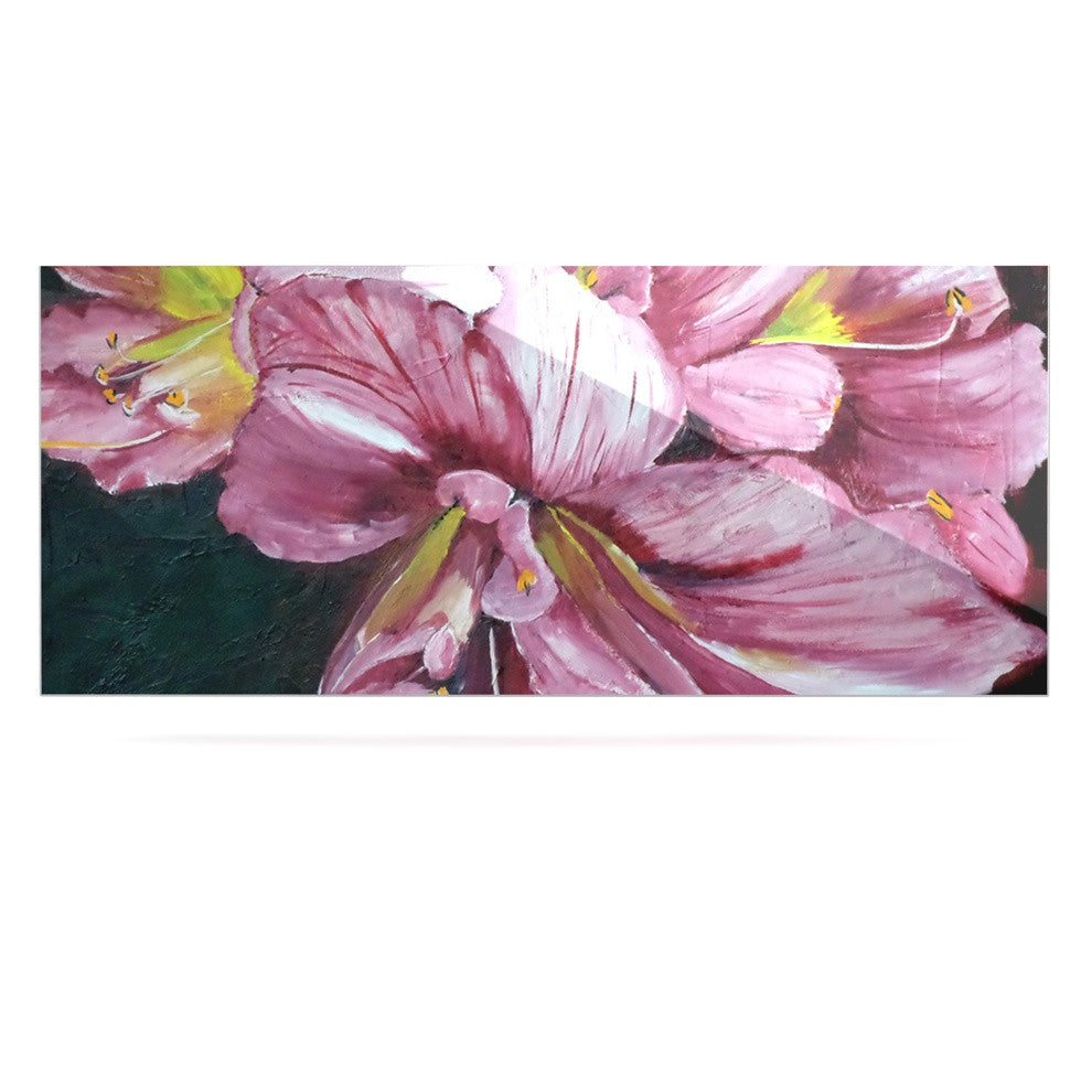 "Cathy Rodgers ""Pink Day Lily Blooms"" Pink Flower Luxe Rectangle Panel - KESS InHouse  - 1"