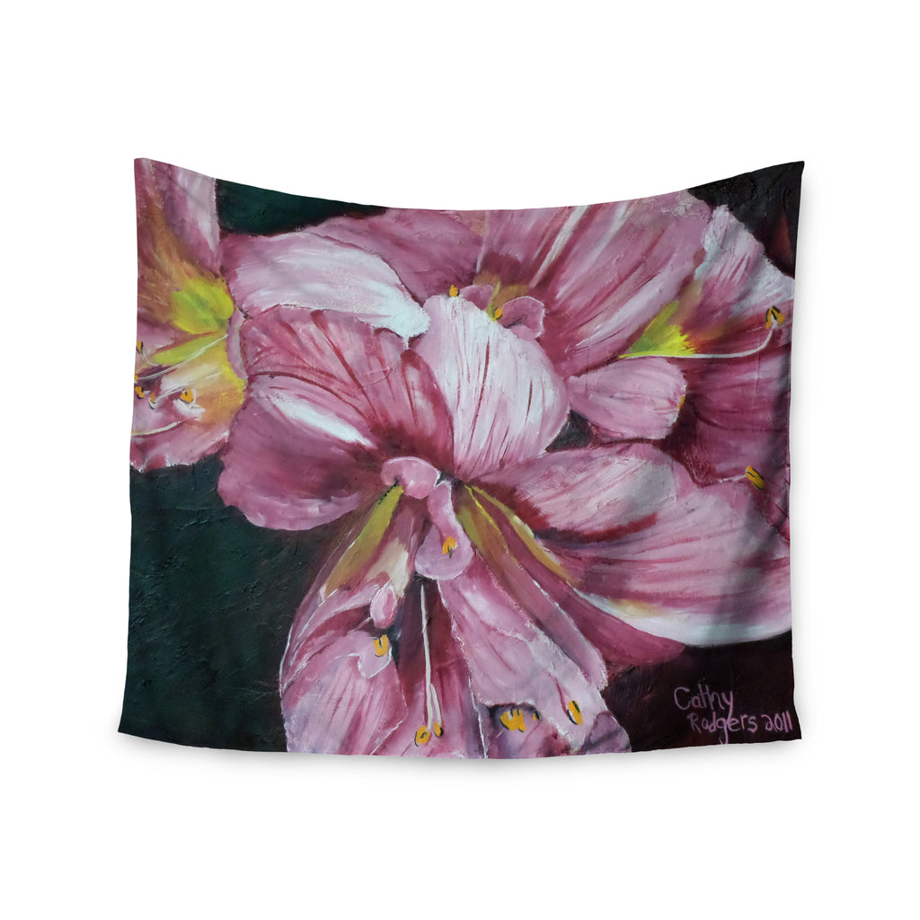 "Cathy Rodgers ""Pink Day Lily Blooms"" Pink Flower Wall Tapestry - KESS InHouse  - 1"