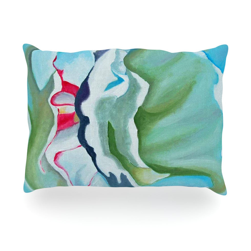 "Cathy Rodgers ""Peony Shadows"" Green Flower Oblong Pillow - KESS InHouse"